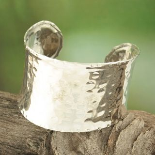 Handcrafted Silver Plated Wide Hammered Asymmetrical Cuff Bracelet
