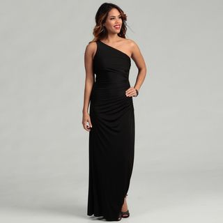 Adrianna Papell Black One shoulder Beaded Gown