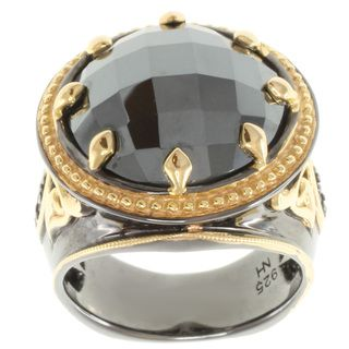Michael Valitutti Two tone Hematite and Blue Sapphire Mens Ring