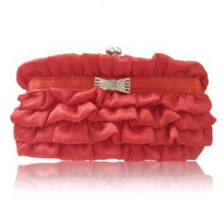 169 red Satin Evening Prom Wedding Handbag bag purse