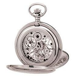 Avalon Imperiale Steel Skeleton Double cover Pocket Watch