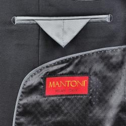 Mantoni Mens Solid Black 3 button Vested Wool Suit