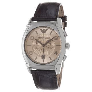 Emporio Armani Mens Classic Amber Dial Brown Leather Strap Watch