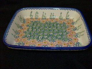 Polish Pottery Stoneware Rectangular Baker 8x10 Kitchen
