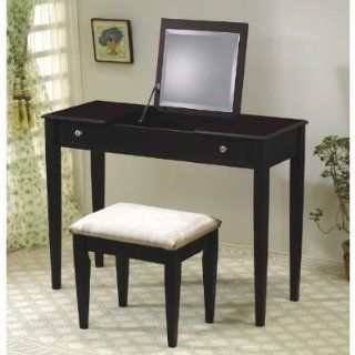 Cappuccino Flip Top Vanity Table Set   Coaster 300080