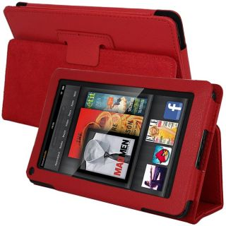 SKQUE  Kindle Fire Red Leather Case