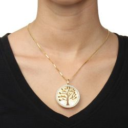 18k Gold over Silver 5/8ct TDW Diamond Tree of Life Necklace (H I