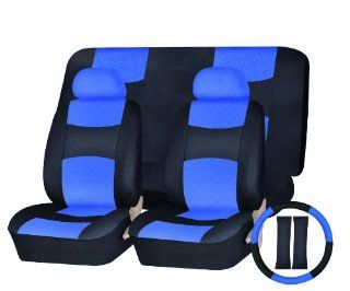 Universal Car Seat Cover PU Leather Front & Rear & Steering Wheel Set
