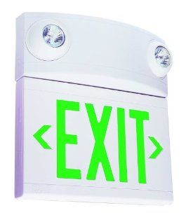 Dual Lite LTUGW White LT 2 Light Green LED / Halogen Tandem Exit Sign