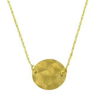 14k Yellow Gold Adjustable Hammered Disc Necklace