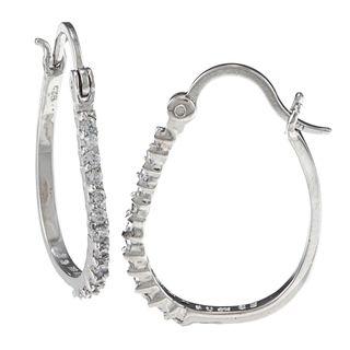 Sunstone Sterling Silver Cubic Zirconia Oval Hoop Earrings