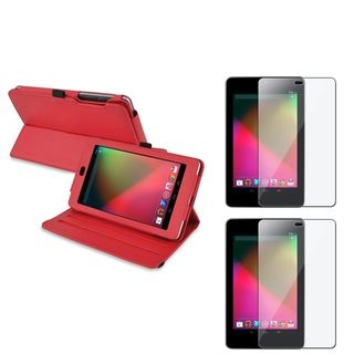 BasAcc Red Swivel Case/ Screen Protector for Google Nexus 7