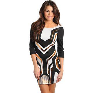 Stanzino Womens Black Geometric Print V back Dress