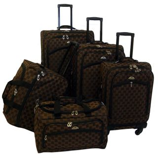 American Flyer Madrid 5 Piece Brown Spinner Luggage Set See Price in