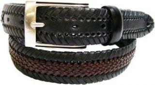 Alexander Julian Mens Two Tone Leather Laced Belt,Black