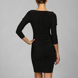 Tadashi Shoji Womens 3/4 sleeve Drape Jersey Dress