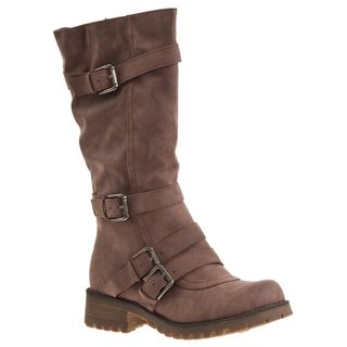 Riverberry Womens Combat Taupe Mid calf Boots