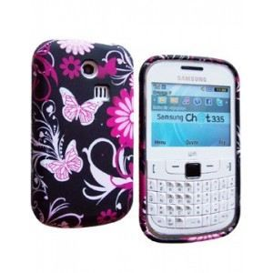 Coque SoftyGel Flower Noire/Rose pour Samsung Chat 335 S3350   Coque