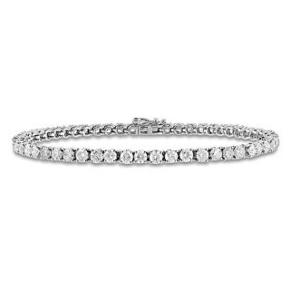Miadora 14k White Gold 6ct TDW Diamond Tennis Bracelet (G H, I1 I2