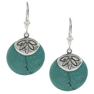 Southwest Moon Sterling Silver Turquoise Disc Flower Cap Earrings