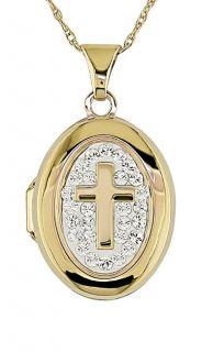 10k Crystal Cross Locket w/ Chain