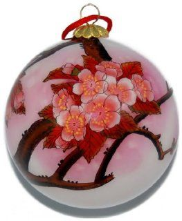 Painted Glass Ornament, Pink Cherry Blossoms CO 173