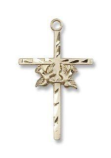 14K Gold Doves/Cross Medal Doves / Cross Pendant Religious
