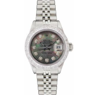 Pre owned Rolex Womens Datejust White Gold Diamond Dial Watch