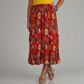 La Cera Womens Plus Size Reversible Printed Broomstick Skirt