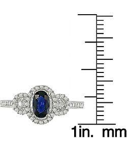Oval Blue Sapphire 1/5ct TDW Diamond Ring