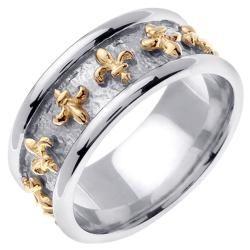 14k Two tone Gold Mens Fleur de Lis Wedding Band