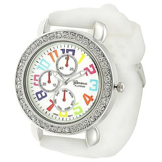 Geneva Platinum Womens Mother of Pearl Silicone Watch