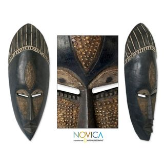 Handcrafted Sese Wood Brass Densu Priest African Tribal Mask (Ghana