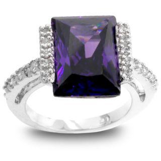 Kate Bissett Silvertone Emerald Cut Purple CZ Ring