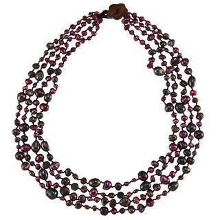 Purple and Black Freshwater Pearl Multi strand Necklace (4 11 mm