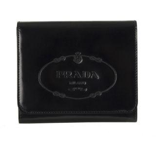 Prada Black Embossed Leather Tri fold Wallet
