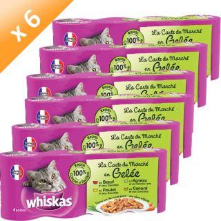 WHISKAS Emincés en gelée pour chat 4 x 390 g x 6   Achat / Vente