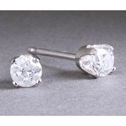 14k White Gold 2ct TDW Diamond Stud Earrings (H I, I2)