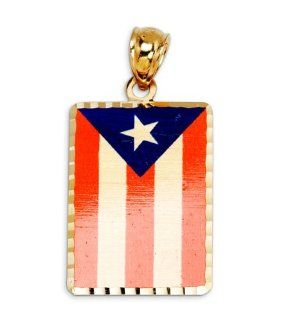 14k Yellow Gold Puerto Rico Country Flag Charm Pendant