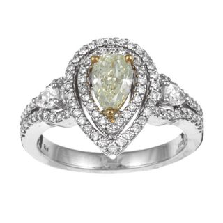 14k/ 18k Two tone Gold 1 1/4ct TDW Certified Yellow Diamond Ring (H I
