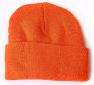 Blank Long Cuff Beanie   Orange: Clothing