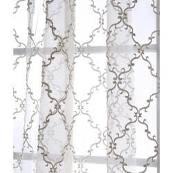 Jonquille 108 inch Faux Silk Embroidered Organza Sheer Panel