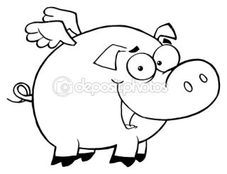 Outlined Pig Flying Cartoon Character  Stock Photo © HitToon