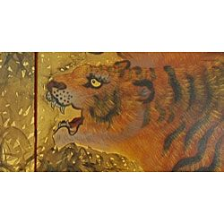 Gold Leaf Tigers on the Move Silk Painting (China)