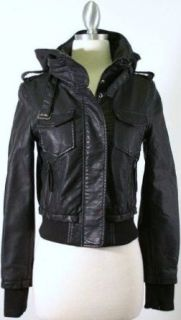 Black Faux Leather Bomber Jacket with Removable Knit Hood