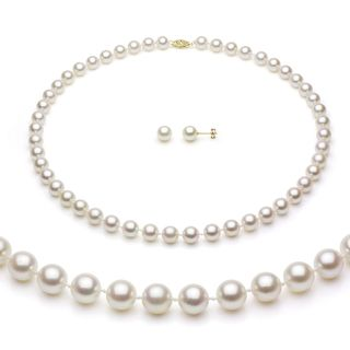 Akoya Cultured Pearl Necklace/ Earring Set (6.5 7 mm)