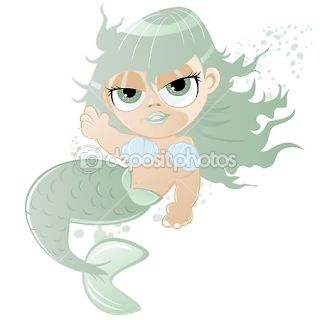 Funny cartoon mermaid  Stock Vector © Dietmar Höpfl #12038936