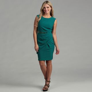 Sandra Darren Womens Peacock Belted Draped Dress