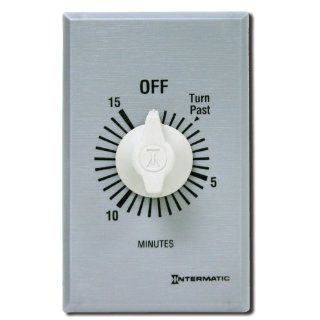 Intermatic FF15MC 15 Minute Spring Loaded Wall Timer, Brushed Metal