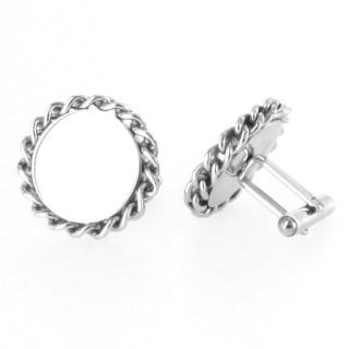 Stainless Steel Round Braided Rope Edge Cuff Links